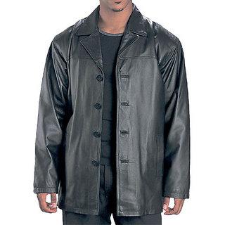 Men's Black Leather Regular Fit Biker Jacket - 100 Genuine JG306