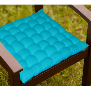 Lushomes Light Blue Comfy Cotton Chair Cushion with 36 knots and 4 tie backs