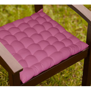 Lushomes Magenta Comfy Cotton Chair Cushion with 36 knots and 4 tie backs