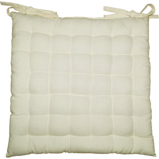 Lushomes Off-White Comfy Cotton Chair Cushion with 36 knots and 4 tie backs