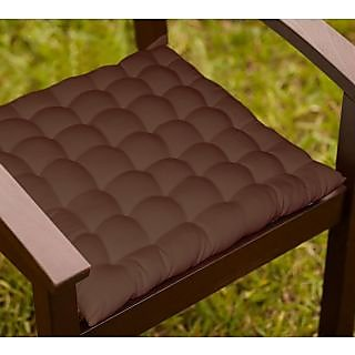 Lushomes Brown Comfy Cotton Chair Cushion with 36 knots and 4 tie backs