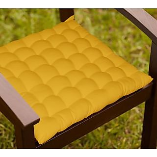 Lushomes Yellow Comfy Cotton Chair Cushion with 36 knots and 4 tie backs