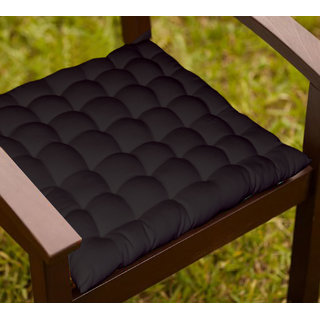 Lushomes Black Comfy Cotton Chair Cushion with 36 knots and 4 tie backs