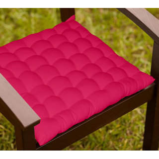 Lushomes Pink Comfy Cotton Chair Cushion with 36 knots and 4 tie backs