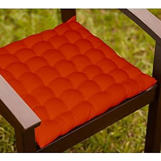 Lushomes Maroon Comfy Cotton Chair Cushion with 36 knots and 4 tie backs
