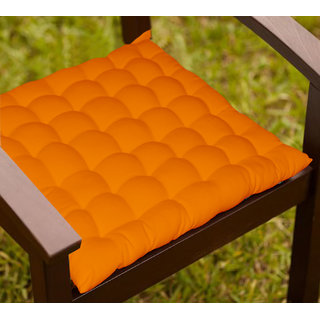 Lushomes Orange Comfy Cotton Chair Cushion with 36 knots and 4 tie backs