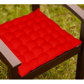 Lushomes Red Comfy Cotton Chair Cushion with 36 knots and 4 tie backs