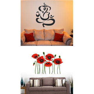 Set of 2 - WallTola Wall Stickers  Ganesha and Poppy Flowers   Wall Stickers