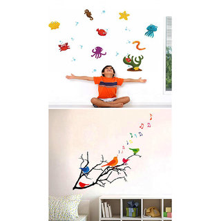 Set of 2 - WallTola Wall Stickers  Birds Musical Notes and Ocean Cartoon Creatures   Wall Stickers