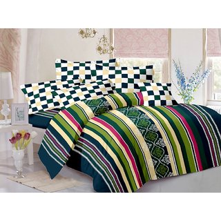Valtellina Cotton Stripes Multicolor Double Bedsheet with 2 Contrast Pillow Covers(TC-129)