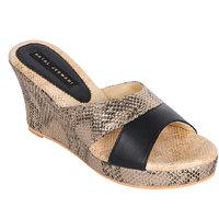 PAYAL JESWANI Black  Gold Colour Casual Leather Heel Sandal