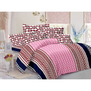 Valtellina Cotton Traditional  Pink Double Bedsheet with 2 Contrast Pillow Covers(TC-129)