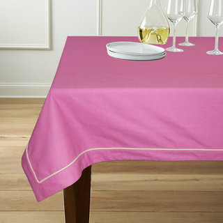 Lushomes 6 Seater Magenta Table Cloth with Off-White contrasting cord piping (Size 60x90)
