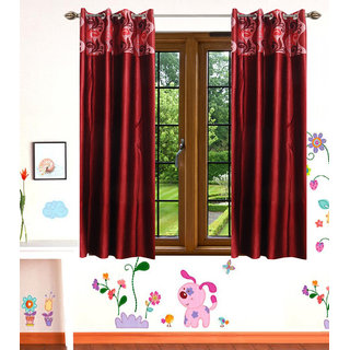 GauravCurtains Polyester Multicolor Printed 5x4 Feet Window Curtain (Pack of 2)