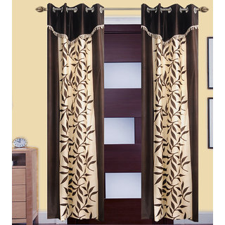 GauravCurtains Polyester Multicolor Printed 9x4 Feet Long Door Curtain  (Pack of 2)