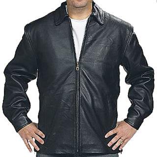 Men's Black Leather Casual Jacket - JG314