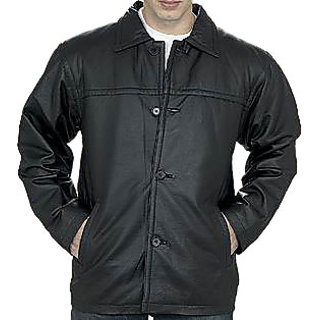 Men's Black Regular Fit Leather Jacket - JG315