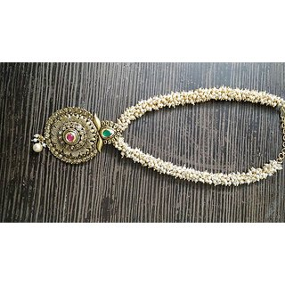 Metal Pendant Necklace With Jhumki Earring For Women