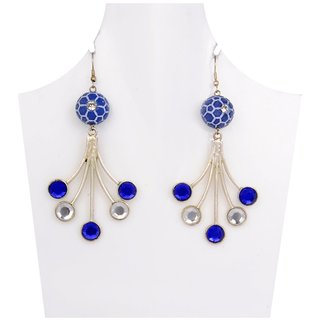 WOAP Designer Earring in Blue  White Colour with Blue Football (WFER-10021)