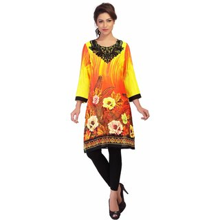 Yellow digital print kurti