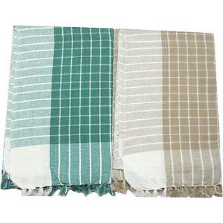Tidy Cotton Bath Towel (Bath Towel 2Pcs, Green, Brown)