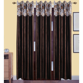 GauravCurtains Polyester Multicolor Designer 7x4 Feet Door Curtains (Pack of 3)