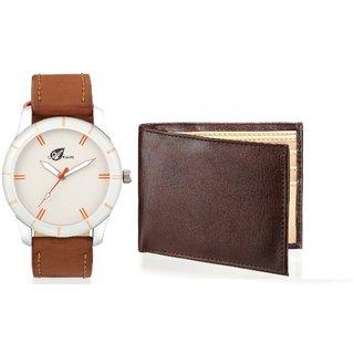 Arum Analog White Dial Watch Brown Wallet For Men AWW-22