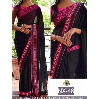 Grace Collections Georgett Black Saree