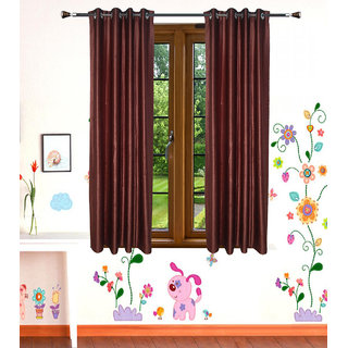 GauravCurtains Polyester Coffee Plain 5x4 Feet Window Curtain (Pack of 2)