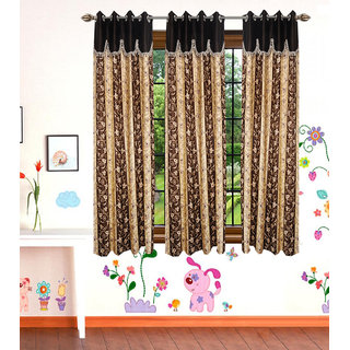GauravCurtains Polyester Multicolor Designer 5x4 Feet Window Curtains (Pack of 3)
