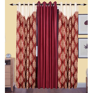GauravCurtains Polyester Multicolor Designer 9x4 Feet Long Door Curtains (Pack of 3)