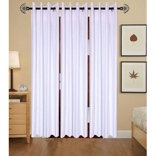 GauravCurtains Polyester White Plain 7x4 Feet Door Curtain (Pack of 3)