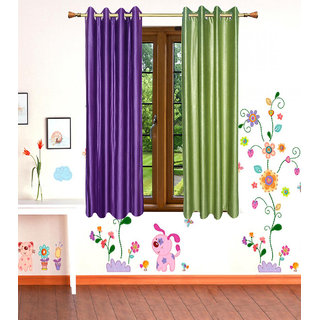 GauravCurtains Polyester Multicolor Plain 5x4 Feet Window Curtain (Pack of 2)