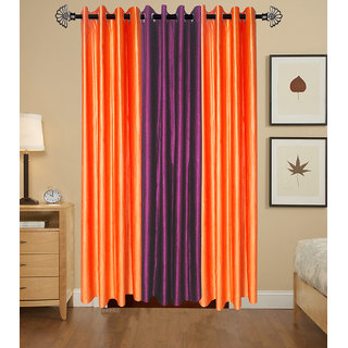 GauravCurtains Polyester Multicolor Plain 7x4 Feet Door Curtains (Pack of 3)