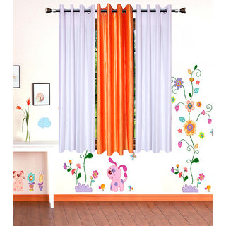 GauravCurtains Polyester Multicolor Plain 5x4 Feet Window Curtains  (Pack of 3)