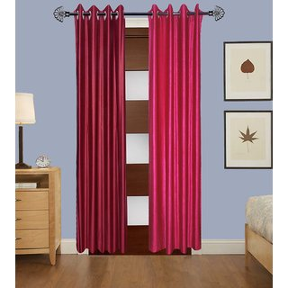 GauravCurtains Polyester Multicolor Plain 7x4 Feet Door Curtain (Pack of 2)