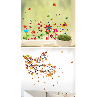 BOGO WallTola Wall Stickers  Fun Pop Flowers and Orange Leaves Branch   Wall Stickers