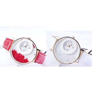 Women Party Wadding White And Red Combo Of 2 Ladies And Girls Watches