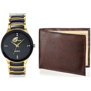Arum Analog Black ,Golden  Dial WatchBrown Wallet For Men AWW-24