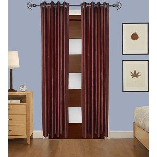 GauravCurtains Polyester Coffee Plain 9x4 Feet Long Door Curtain (Pack of 2)