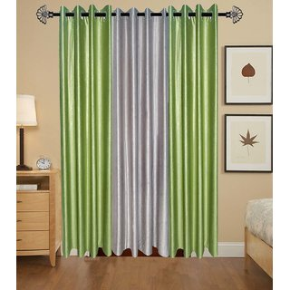 GauravCurtains Polyester Multicolor Plain 9x4 Feet Long Door Curtains (Pack of 3)