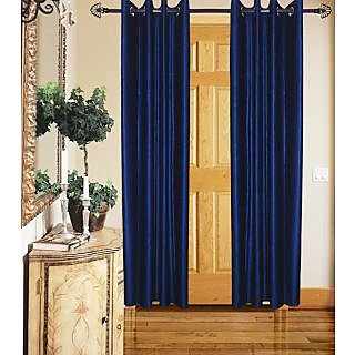 GauravCurtains Polyester Navy Blue Plain 9x4 Feet Long Door Curtain (Pack of 2)