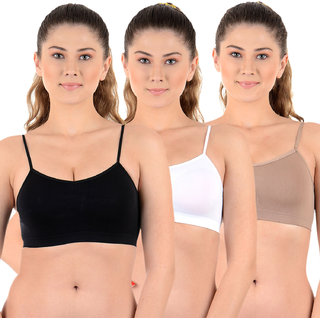 Chileelife Non-Padded Sports Bra Combo (Black, White, Grey, Pack Of 3)