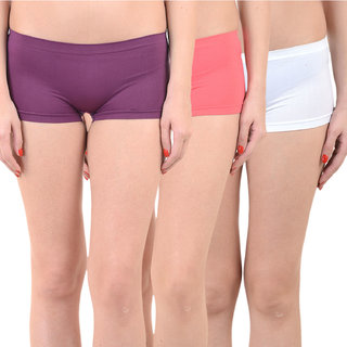 Chileelife Sports Shorts Combo - Pack Of 3 (Purple,Red,White)