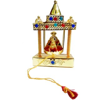 Brass Carving Temple Jhula With Laddu Gopal