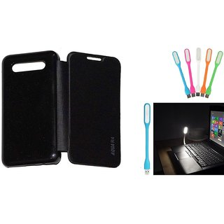 Ready Durable PU Leather Flip Cover For Intex Aqua R4 (Black)+Mini Portable Designer USB LED- Lamp Led Light