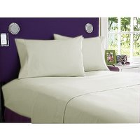 Super Soft Solid Single Bed Sheet With 2 Pillow Covers (Ivory)