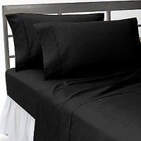 Super Soft Solid Single Bed Sheet With 2 Pillow Covers (Black)