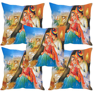 Sleep NatureS Village Painting Printed Cushion Covers Set Of Five