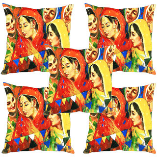 Sleep NatureS Village WomenS Printed Cushion Covers Set Of Five